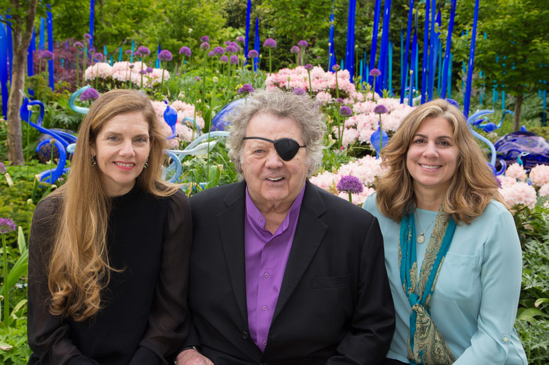 President and CEO of Chihuly Studio Leslie Jackson Chihuly, artist Dale Chihuly and Chihuly Garden and Glass Executive Director Michelle Bufano.