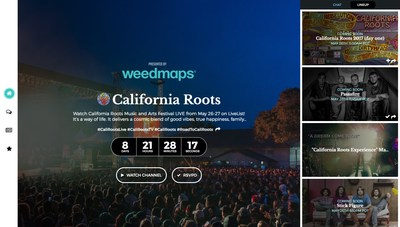 California Roots LiveChannel player powered by LiveList, presented by Weedmaps