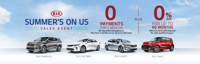Vehicle shoppers can save money in a variety of ways at Friendly Kia, including local lease specials at the New Port Richey, Florida dealership and the national Summer's On Us sales event, with new 2017 Kia vehicles available for five months with no payments.