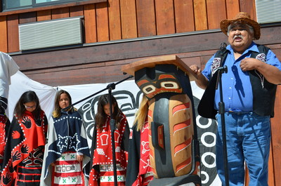Paddy Walkus, Chief of Gwa'sala-Nakwaxda'xw Nation, speaks about the legacy and opportunities that Kwa'lilas Hotel brings to the nation at the grand opening. (CNW Group/Kwa'lilas Hotel)