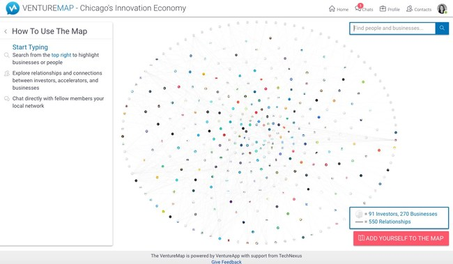 This network visualization maps investments into Chicago startups by local angel investors, VC firms, incubators and accelerators.