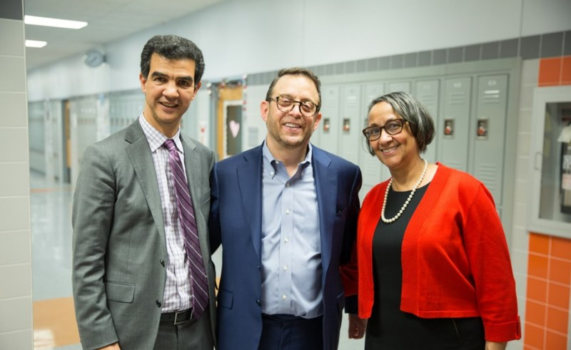 (Left to right): Council Member Ydanis Rodriguez, Lightstone Chairman & CEO David Lichtenstein, and Yvonne Stennett, Executive Director, Community League of the Heights