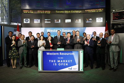 The Honourable James Moore, Chairman, and Bill Xue, President & CEO, Western Resources Corp., joined Ungad Chadda, President, Capital Formation, Equity Capital Markets, TMX Group, to open the market. Western Resources Corp. is the 100 per cent owner of Western Potash Corp., a development stage potash company focused on building a solution mine on the Milestone Project located in southern Saskatchewan, Canada. Western Resources intends to pursue investment opportunities in other resource properties beyond potash. Western Resources commenced trading on Toronto Stock Exchange on April 5, 2017. (CNW Group/TMX Group Limited)