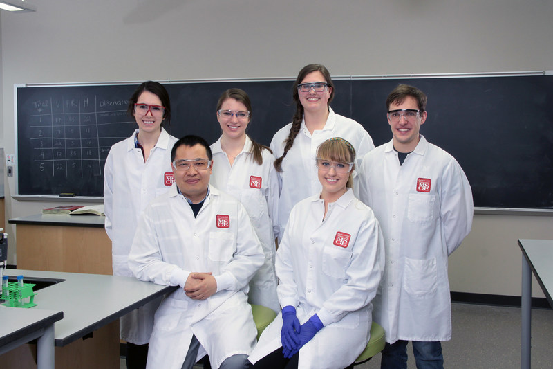 "Biomolecular engineering seniors at Milwaukee School of Engineering are developing engineered red blood cells. Members of ""The Heme Team"" are, back, left to right: Haley Steiner, Rebecca Schroeder, Nataline Duerig, Kellen O'Connell; front: Dr. Wujie Zhang, faculty advisor (left) and Sydney Stephens, project manager."