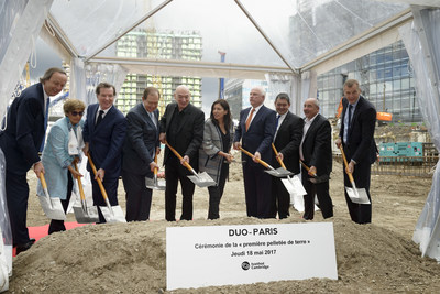 DUO groundbreaking. From left to right : Patrick ALBRAND, President, Hines France Meka BRUNEL,  Chief Executive  ...