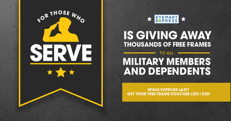 Starting May 22, Eyemart Express is giving away FREE frames to military members and their dependents. Visit eyemartexpress.com/military for more details and to download a FREE frame voucher good in any of our stores through June 3.