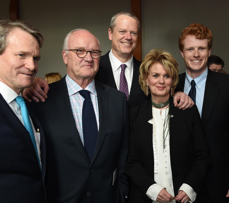 Photo L to R: Bank of America Chairman and CEO Brian Moynihan, journalist and MSNBC Commentator Mike Barnicle, Massachusetts Governor Charlie Baker, Bank of America Vice Chairman Anne Finucane and U.S. Rep. Joe Kennedy III, D-Mass.