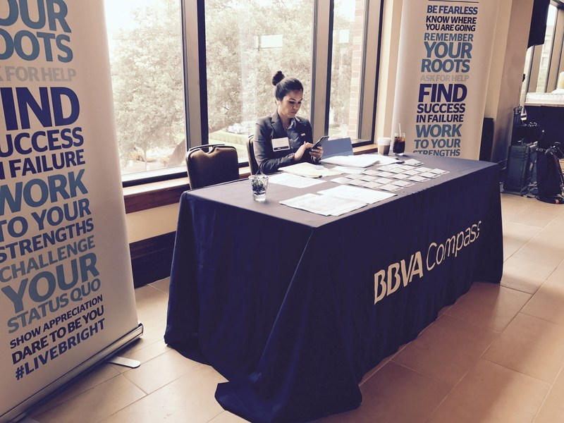 BBVA Compass Community Relations Executive for Texas Yolanda Davila prepares to welcome the social entrepreneurs who are gathering Thursday at the McCombs School of Business at the University of Texas at Austin to make their case for joining the inaugural class of BBVA Momentum.