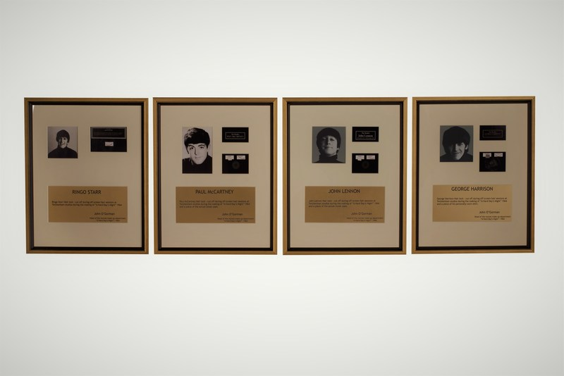 Custom framed locks of hair from the Beatles, circa 1964