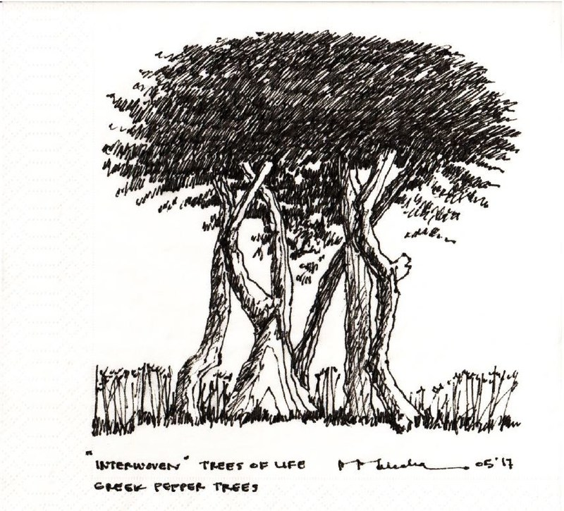 "NewSchool of Architecture and Design President Marvin J. Malecha is one of 25 renowned architects from around the world to exchange unique and original ""napkin sketches"" with students as part of the sixth annual NewSchool Napkin Sketch Auction event, benefitting the San Diego chapter of the American Institute of Architecture Students (AIAS). This sketch is titled ""Interwoven"" Trees of Life."