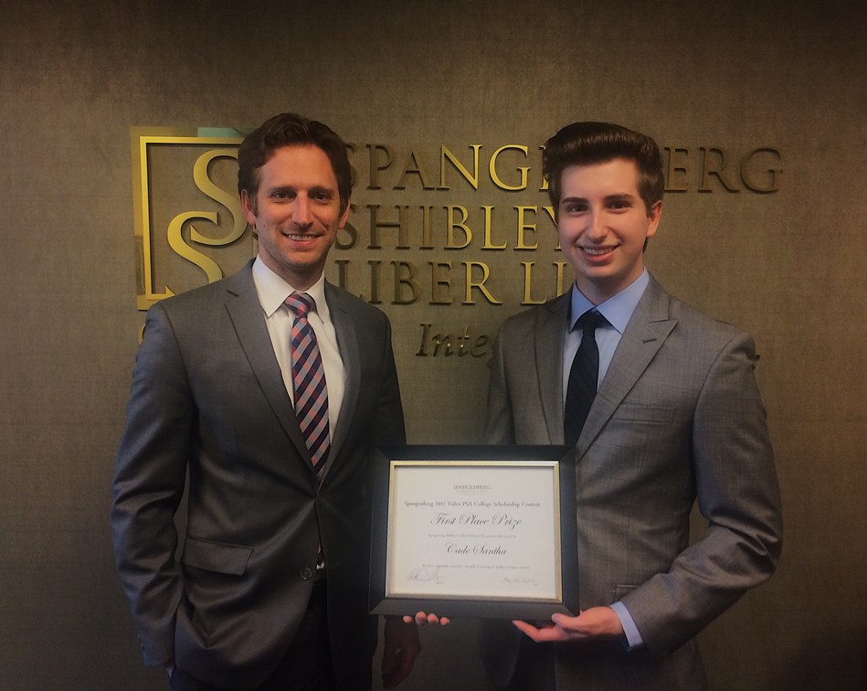 Attorney, Jeremy Tor (left) with Cade Santha (right), the First Prize winner of the 2017 Spangenberg Law Firm Video PSA Scholarship Contest.