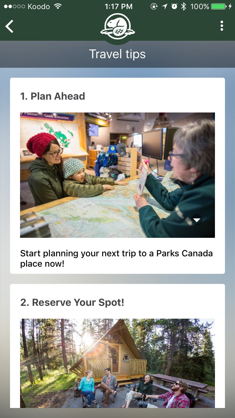 Travel tips and planning: In addition to general information and content on Parks Canada's places, the app provides support and resources to help visitors plan their visits. (CNW Group/Parks Canada)