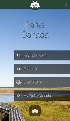 Home page: The home page displays options for users to start planning their adventure. (CNW Group/Parks Canada)