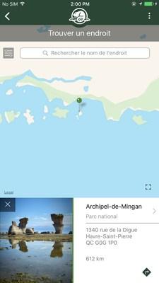 Carte: Une carte est préchargée et visible hors ligne avec un point reliant les informations récapitulatives de chaque emplacement. (Groupe CNW/Parcs Canada)