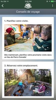 Conseils et planification de voyage: En plus de l'information générale et du contenu sur les lieux de Parcs Canada, l'application fournit un soutien et des ressources pour aider les visiteurs à planifier leurs visites. (Groupe CNW/Parcs Canada)