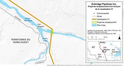 Enbridge Pipelines Inc. - Projet de remplacement d'un tronçon de la canalisation 21 (Groupe CNW/Office national de l'énergie)