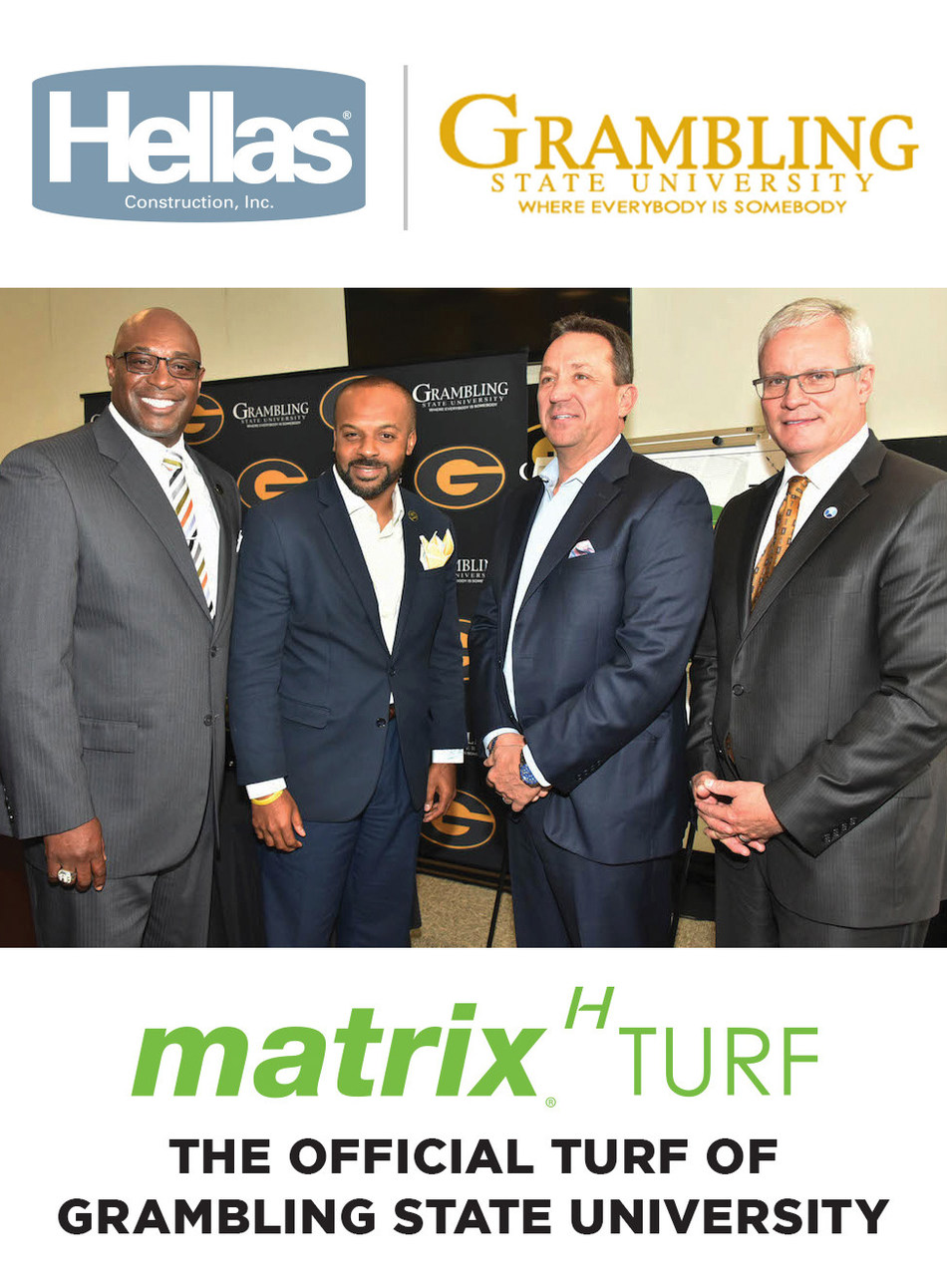Grambling's Athletic Director Paul Bryant and Head Coach Broderick Fobbs with Hellas President Reed Seaton and Origin Bank President/CEO Drake Mills during the press conference announcing the renovations of Eddie G. Robinson Memorial Stadium in May 2017. A Grambling University Foundation partnership with Origin Bank and Coca-Cola is helping make the estimated $1.5 million to $2 million project possible.
