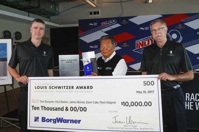Standing with the Louis Schwitzer Award trophy (left to right) were John Norton, Staff Engineer, BorgWarner and Louis Schwitzer Award Selection Committee; Darrick Dong, Director of Motorsports, PFC Brakes; and Jim Bailey, BorgWarner Retiree and Louis Schwitzer Award Selection Committee.