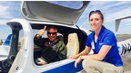 Gov. Terry McAuliffe post-flight in the Centaur Optionally-Piloted Aircraft (OPA) with Aurora's Program Manager Carrie Haase