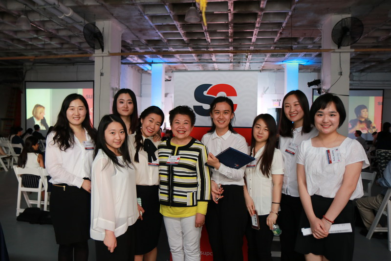 Linda Wong shares a moment with the young generation