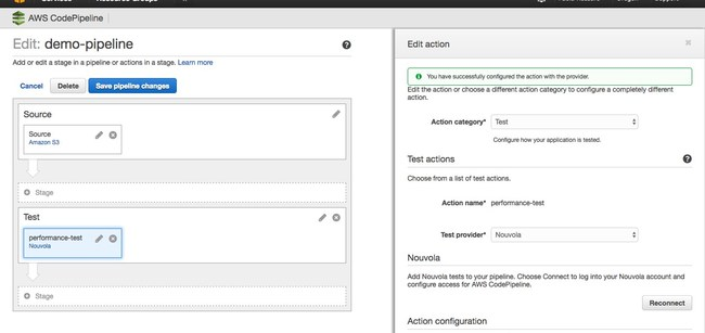 AWS CodePipeline and Nouvola Real-World Performance Testing