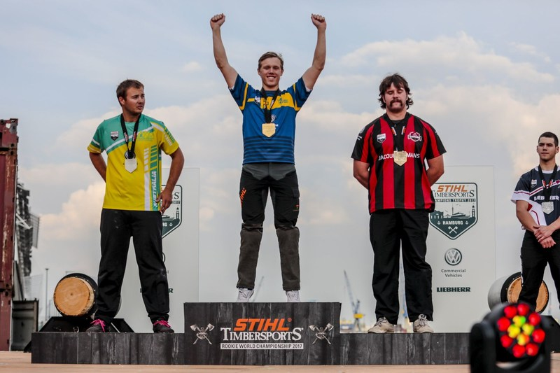 Ferry Svan from Sweden won gold ahead of Blake Marsh from Australia and George Williams from Canada. (PRNewsfoto/STIHL TIMBERSPORTS)