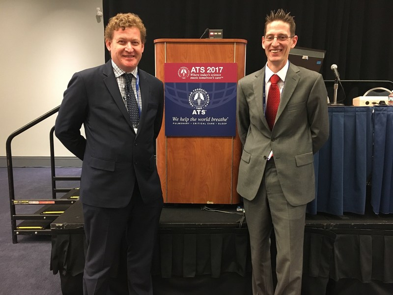 """Dr. Nicholas Hart and Dr. Patrick B. Murphy present """"Effect of home non-invasive ventilation with oxygen therapy vs. oxygen therapy alone on hospital readmission or death after an acute COPD exacerbation: A randomized clinical trial"""" at American Thoracic Society International Conference 2017"""