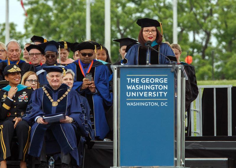 U.S. Senator Tammy Duckworth (D-Illinois) delivers an address to graduates at the George Washington University's 196th Commencement.