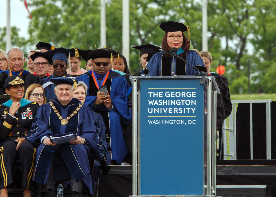 U.S. Senator Tammy Duckworth (D-Illinois) delivers an address to graduates at the George Washington University's 196th Commencement.