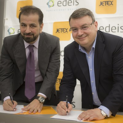 Jetex Flight Support CEO Adel Mardini and Edeis General Manager Youssef Sabeh at the press conference in Geneva, Switzerland (PRNewsfoto/Jetex)