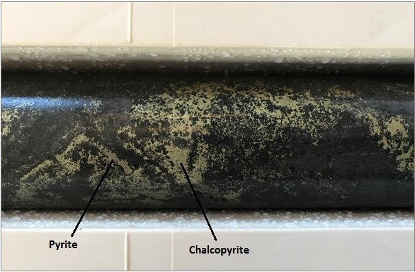 Figure 4. Interstitial chalcopyrite mineralisation, diamond drill hole WND17-001 (CNW Group/Chalice Gold Mines Limited)