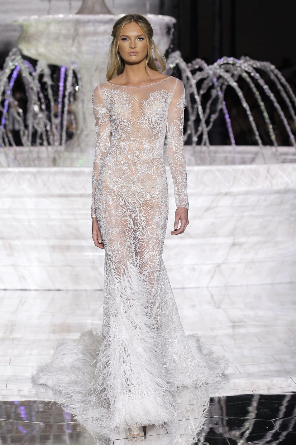 ROMEE STRIJD at the PRONOVIAS FASHION SHOW in Barcelona with the RISUENA dress from the 2018 ATELIER PRONOVIAS COLLECTION