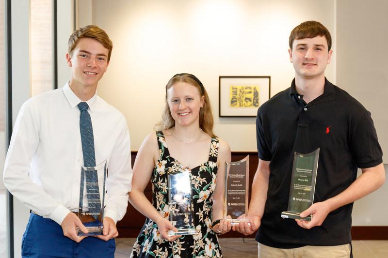 Scholarship winners (left to right): Henry Roberts, Jennifer Kelleher and Weston Sirk. Not shown: Ankush Joshi and Daniel Merkowitz-Bustos