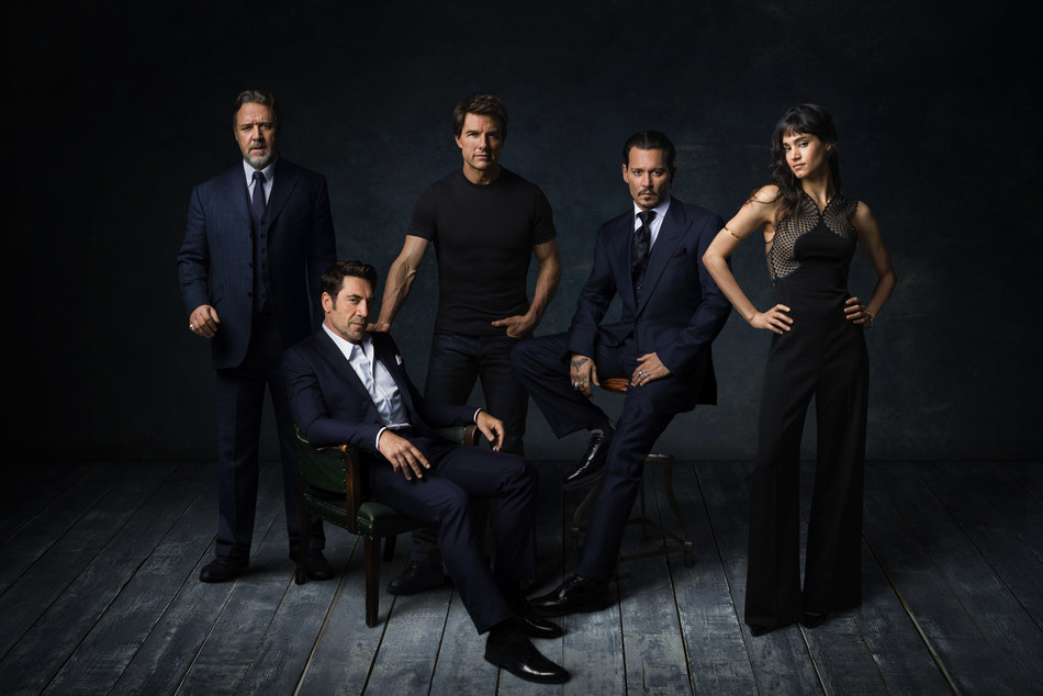 Dark Universe stars (L to R) RUSSELL CROWE, JAVIER BARDEM, TOM CRUISE, JOHNNY DEPP and SOFIA BOUTELLA (PRNewsfoto/Universal Pictures)