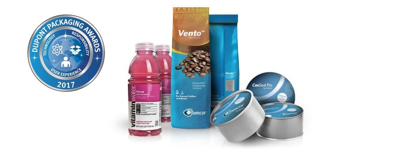 In 2017, global packaging company Amcor won three DuPont Packaging Awards: for its Vento™ coffee packaging, the 20-ounce Vitaminwater® bottle, and for Peelfit™ - a can which uses CanSeal Pro, a revolutionary flexible membrane developed by Amcor. (PRNewsfoto/Amcor)