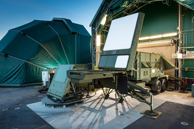 Raytheon's re-engineered proposed Patriot™ radar prototype (right) uses two key technologies – active electronically scanned array, which changes the way the radar searches the sky; and gallium nitride circuitry, which uses energy efficiently to amplify the radar's high-power radio frequencies.  Raytheon's GaN-based AESA prototype radar routinely demonstrated 360-degree capability by working together with a second GaN-based AESA antenna (left) pointed in a different direction.