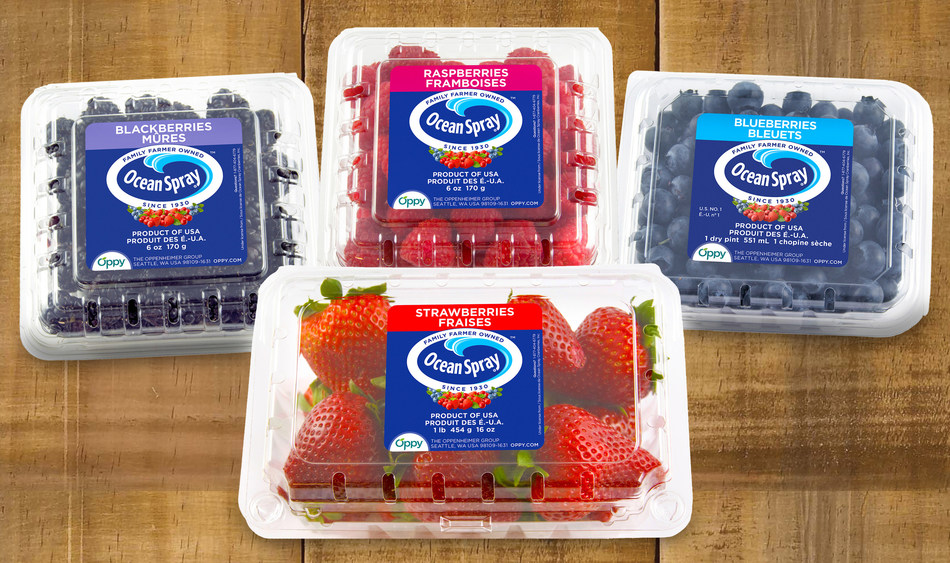 The Ocean Spray® Family Farmer Owned™ brand will feature fruit grown by Oppy berry growers including strawberries, blueberries, raspberries, and blackberries.