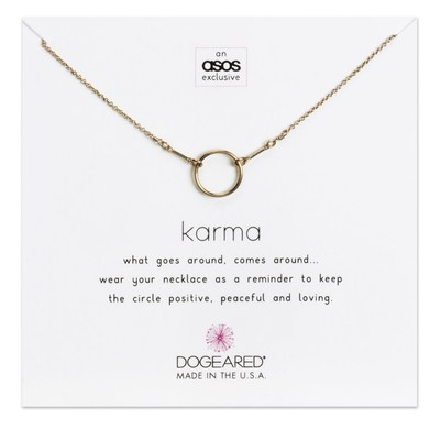 Dogeared X ASOS Exclusive Rose Gold Karma Necklace