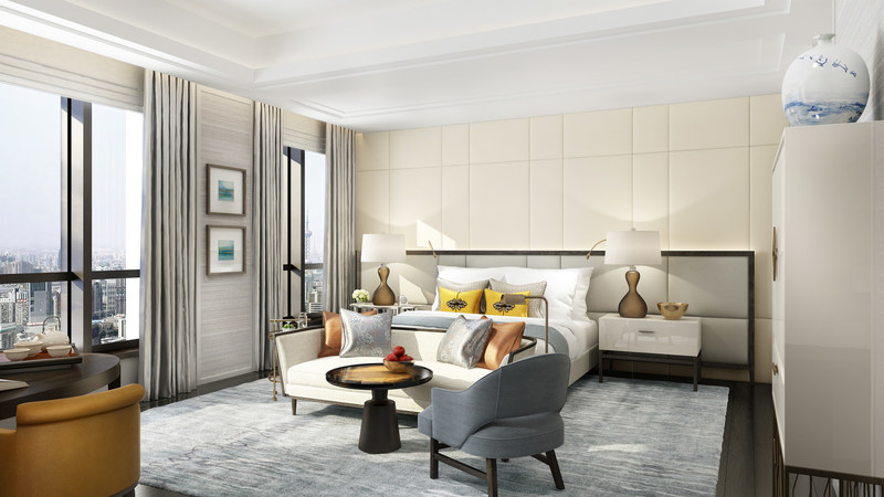 The St. Regis Shanghai Jingan's 436 exquisitely styled guest rooms, including 66 suites, and 55 residences boast sweeping city views.