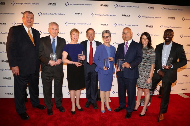 Winners HPN Crain's 2017 Heritage. Healthcare Innovation Awards. From left to right: Mark Wagar, HPN, Dr. Carl Nathan, Karen Ignagni, Dr. Richard Merkin, HPN, Dr. Nora V. Bergasa, Dr. Steven Safyer, Jill Kaplan, Crain's NY Business, Gil Addo