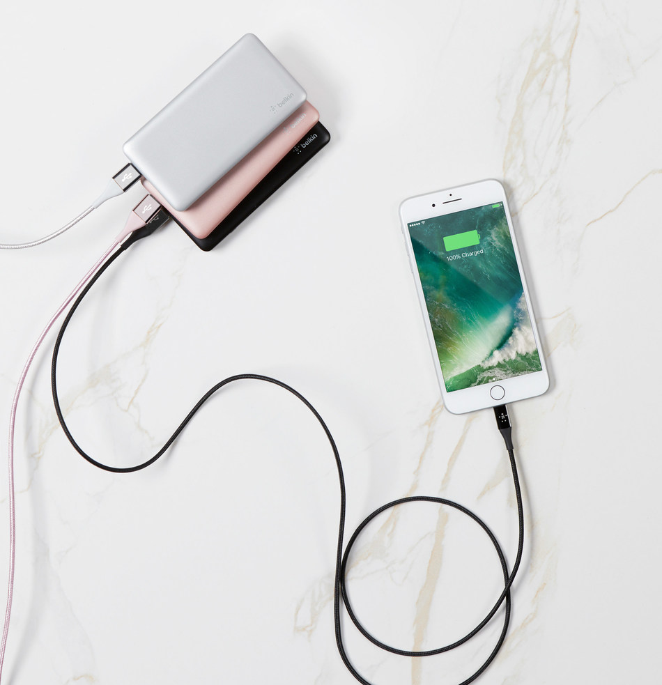 """Meet Belkin's newest suite of power banks. Equipped with polymer battery tech the Pocket Power line features fast-charging capability and are lighter, thinner, and equipped to charge multiple devices at an affordable price point.  """"Deep consumer insight studies conducted by our teams allow us to understand what consumers need and encourage us to continue to innovate with new materials and technologies,"""" said Marco Peter, vice president of product management, Belkin."""