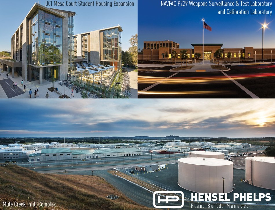 (UCI Mesa Court photo credit: Bruce Damonte / NAVFAC P229 photo credit: Heliphoto / Mule Creek Infill Complex photo credit: Mikki Piper)  Shown are the three Hensel Phelps 2017 DBIA-WPR award-winning projects.