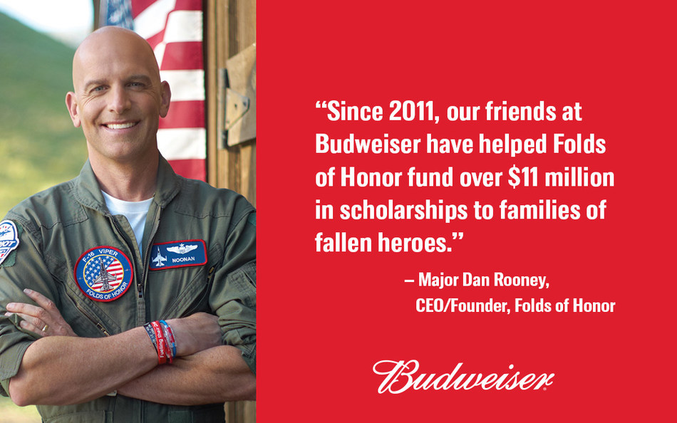 Since 2011, Budweiser has donated a total of $11 million to Folds of Honor, and this summer, Budweiser is hoping to increase that figure by another $1 million.