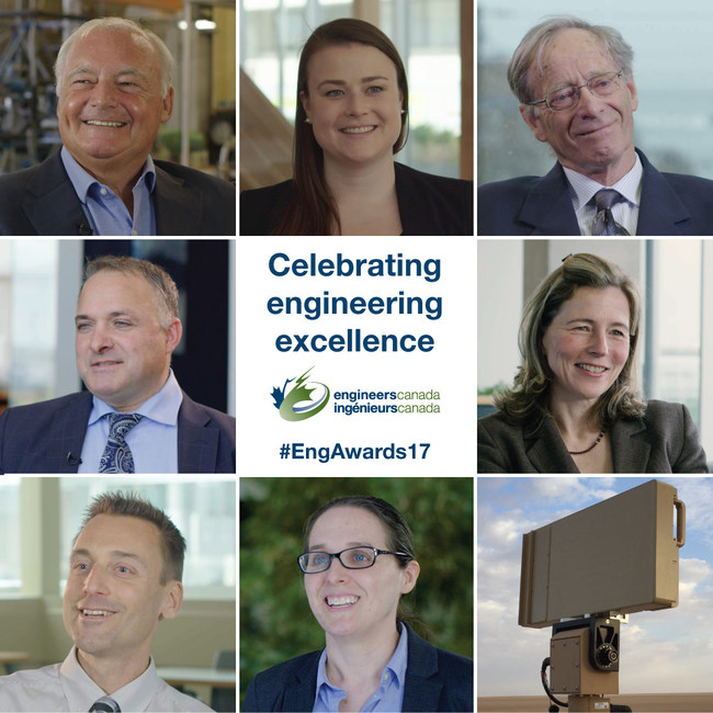 Eight professional engineers from across Canada receive highest honours in their profession at the prestigious 2017 Engineers Canada Awards held later this week in St. John's, Newfoundland. Seen here from far left to right are: Larry E. Seeley, PhD, P.Eng.; Veronica Knott an undergraduate engineering student; G. Ross Peters, PhD, FCAE, FEC, P.Eng.; Mary A. Wells, PhD, P.Eng.; Radar FLIR Ranger R20SS; Amy M. Bilton, PhD, P.Eng.; Jonathan F. Holzman, PhD, P.Eng; and Eduardo (Ted) Maulucci, P.Eng. (CNW Group/Engineers Canada)