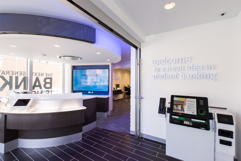 The Innovative Banking Center in State College, PA, was designed with student input and serves as a prototype for FNB's modern concept locations. FNB plans to open a branch in this style on the ground floor of FNB Tower.