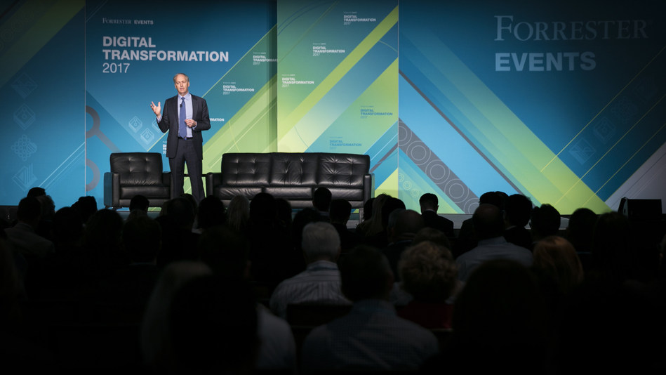 Forrester CEO George Colony speaks at a recent Forrester Forum in front of a sold out audience in Chicago, IL.