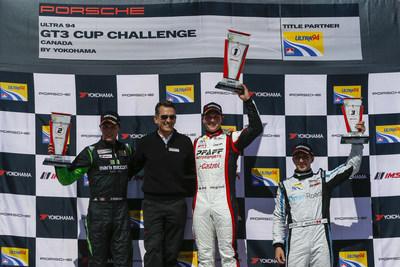 Scott Hargrove a remporté la 1ère course de la Coupe Porsche GT3 Challenge Canada 2017 Ultra 94 présentée par Yokohama dans la voiture n°9 de Castrol Pfaff Motorsports. Zacharie Robichon a terminé 2e dans la Porsche n°98 de Mark Motors Racing deux secondes derrière Hargrove, et le nouveau venu de la série Remo Ruscitti dans la n°69 d'OpenRoad a complété le podium dans la classe Platinum. Alexander Pollich, président et chef de la direction de Porsche Cars Canada, Ltd. a présenté les gagnants. (Groupe CNW/Automobiles Porsche Canada)