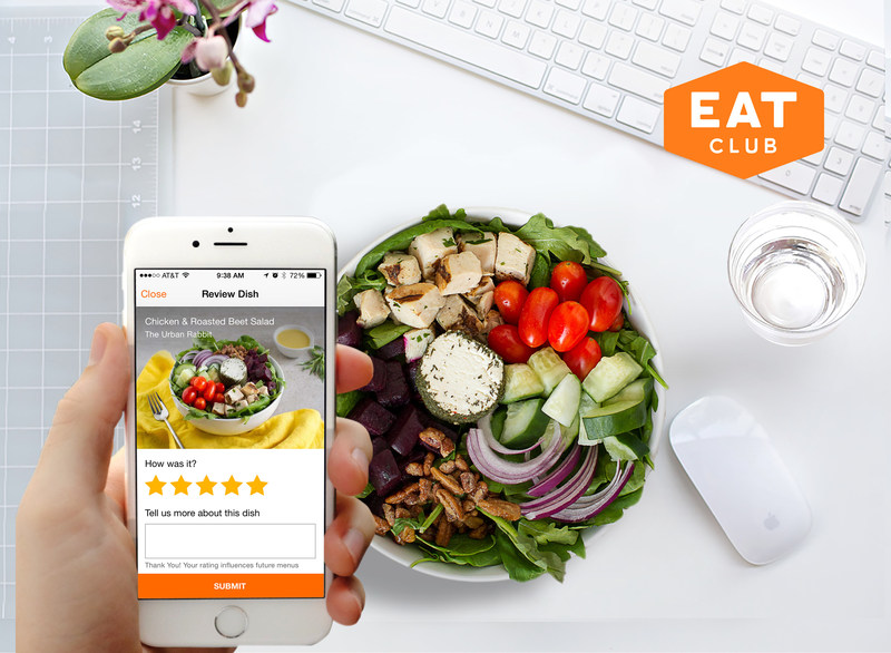 EAT Club mobile app and entree.