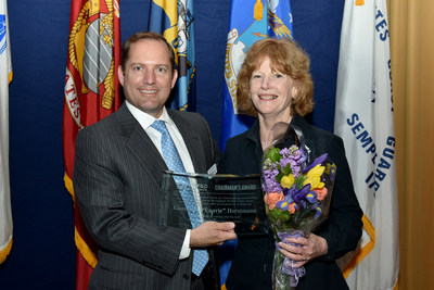 PenFed President and CEO James Schenck with 2017 Chairman's Award recipient Laurie Horstmann.