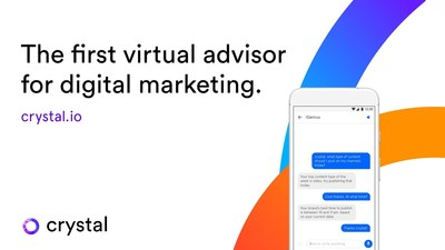 crystal's mobile virtual advisor interface where is possible to ask for marketing KPIs via voice or in writing